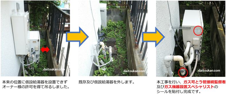 仮設給湯器設置の流れ